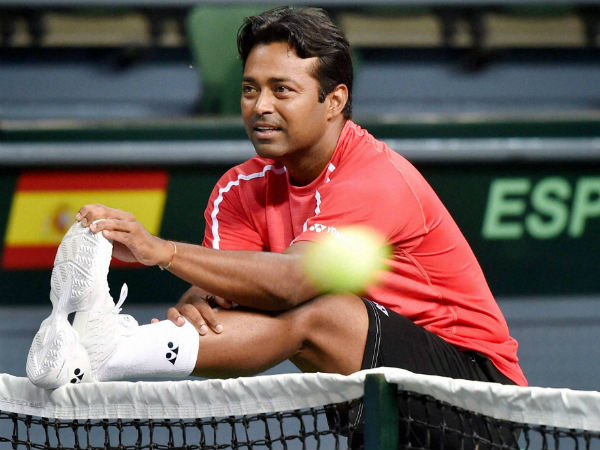 Paes stretches stretches during a practice session in New Delhi on Monday (September 12) as he gets ready to face Spain in Davis Cup