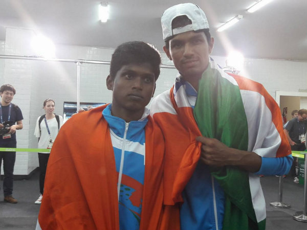Thangavelu (left) and Varun after their medal winning efforts at Rio Paralympics. Photo from event's official Twitter page