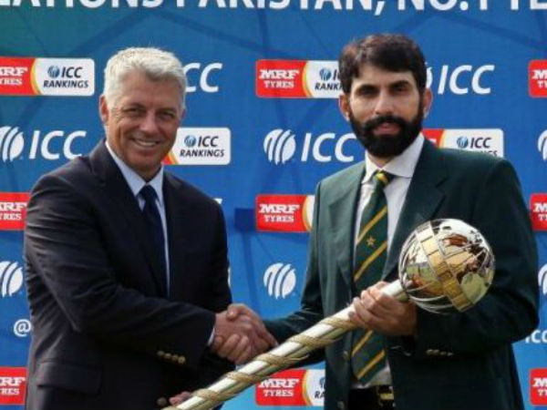 Misbah (right) receives the Test mace from Richardson