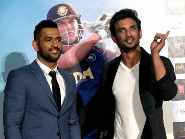 MS Dhoni with actor Sushant Singh Rajput who plays Dhoni on screen