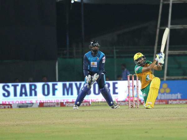 Bijapur's MG Naveen in action during his half century knock