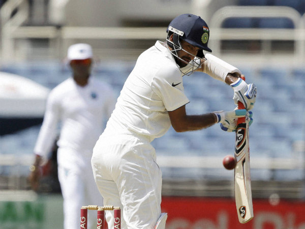 Cheteshwar Pujara plays a shot