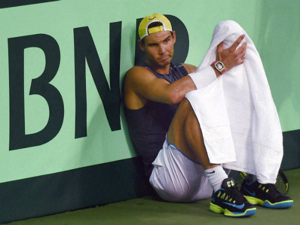 Rafael Nadal takes a break during a practice session in New Delhi on Wednesday (September 14) ahead of the Davis Cup tie against India.