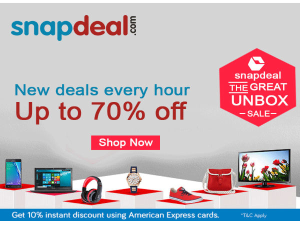 THE SNAPDEAL GREAT UNBOX SALE is Live Now! 70% on Products, Extra 10% Cashback on all Card Payments
