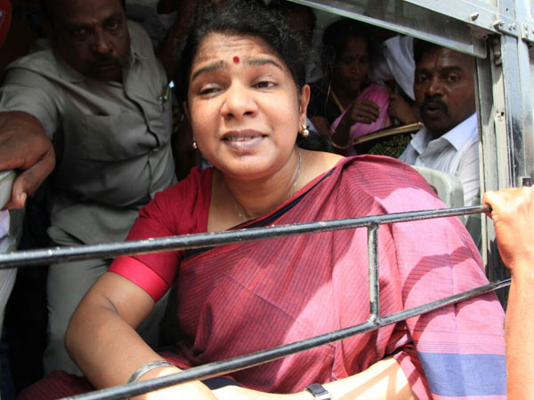 DMK leader Kanimozhi is detained during the Tamil Nadu bandh over the Cauvery waters row with Karnataka, in Chennai on Friday. Photo: OneIndia