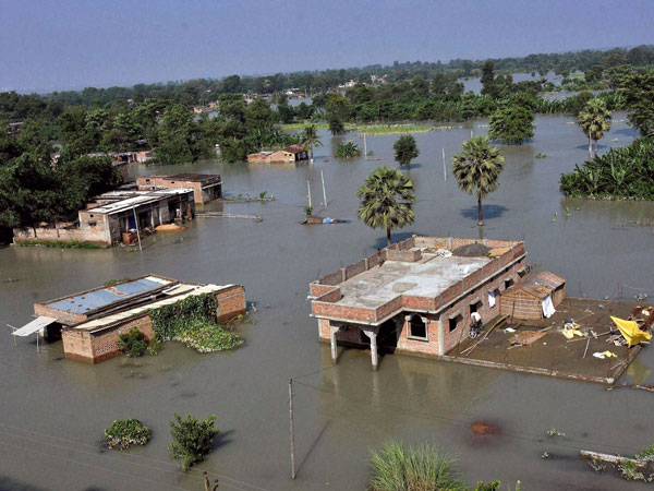 Submerged houses in flooded area of Hajipur, Bihar.