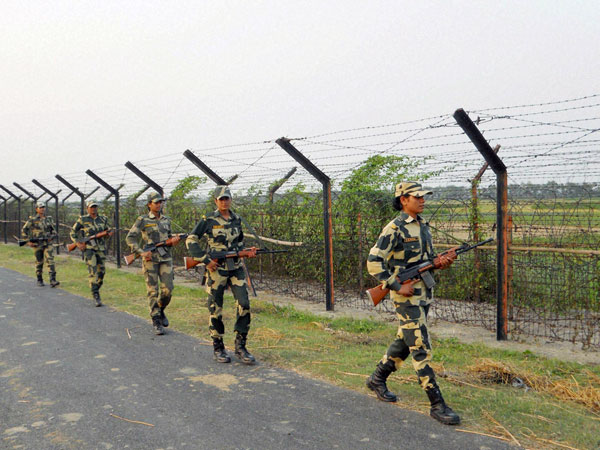 BSF women personnel patrolling along the Indo-Bangla border in the North 24 Parganas district of West Bengal