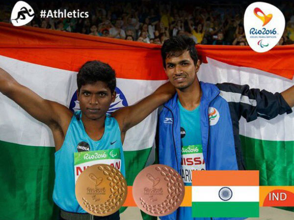 Golden moment: Thangavelu (left) and Varun. Photo from Rio Paralympics Twitter page