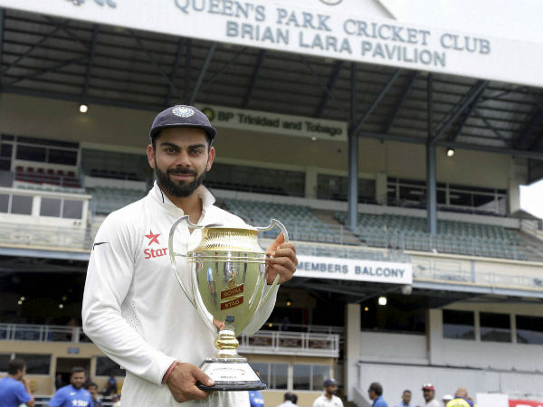 File photo: Virat Kohli with the Test series trophy after defeating West Indies recently