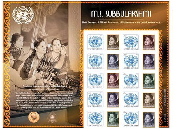 The stamp has images of Subbulakshmi and the UN emblem