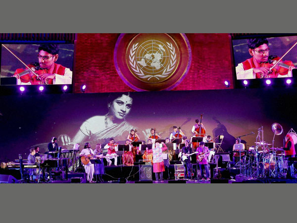 AR Rahman performed at UN paying his tributes to the carnatic music artist