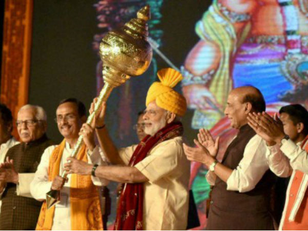 PM being presented a mace at Aishbag in Lucknow