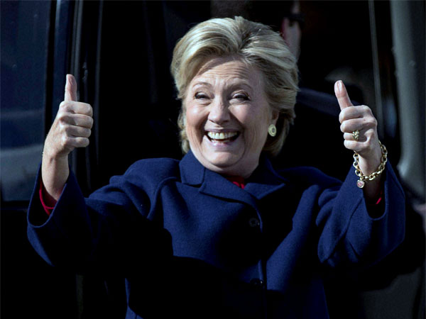 Hillary Clinton gives a thumbs up