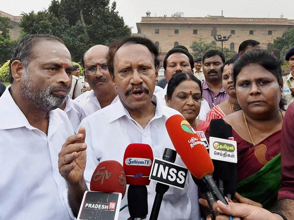 A delegation of AIADMK MPs led by M Thambidurai addresses the media after submitting a memorandum to Prime Minister Narendra Modi to discuss the Cauvery issue at South Block in New Delhi.