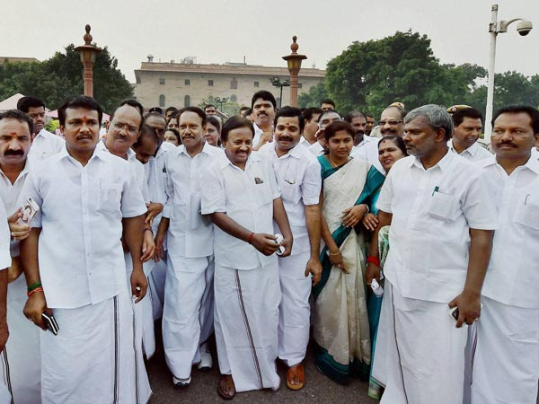 A delegation of AIADMK MPs led by M Thambidurai coming out after submitting a memorandum to Prime Minister Narendra Modi to discuss the Cauvery issue at South Block in New Delhi