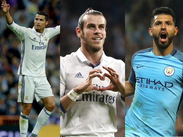From left: Cristiano Ronaldo, Gareth Bale and Sergio Aguero (Image courtesy: Twitter)