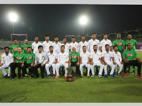 Bangladesh team poses for pictures after their historic win. Photo from Bangladesh Cricket Board's Twitter page