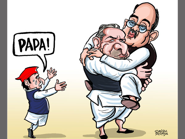 CARTOON: Mulayam refuses to part ways with Amar Singh