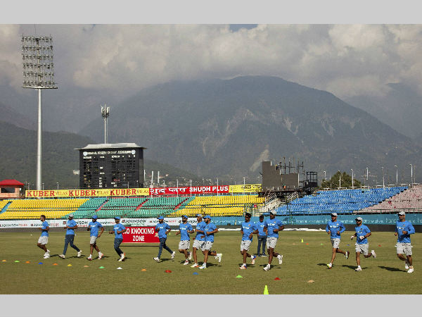 Indian players at practice in Dharamsala on Friday