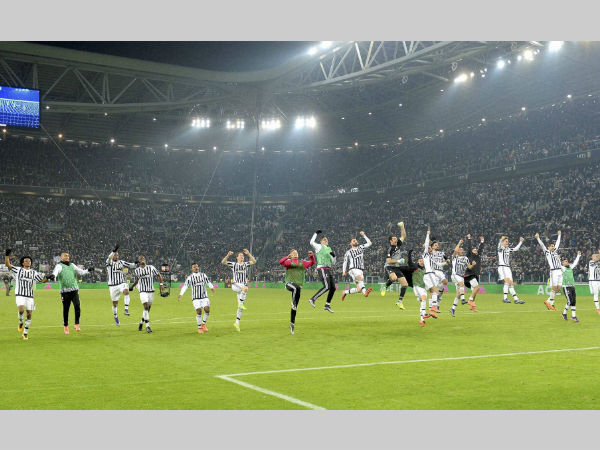 A file picture of Juventus' players celebrating a win in Serie A