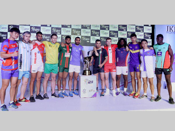 All the captains pose with the Kabaddi World Cup trophy in Ahmedabad on Thursday (October 6)
