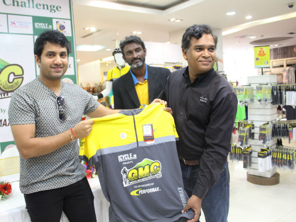 GMC 2016 jersey is unveiled by Vishaal Hegde (left) and other officials. Photo by Suhas .A