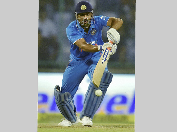 MS Dhoni plays a shot during the 2nd ODI in Delhi