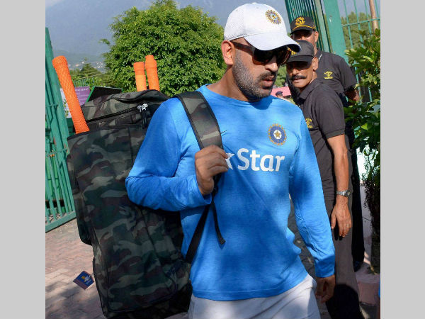 MS Dhoni arrives for training in Dharamsala on Friday (October 14)