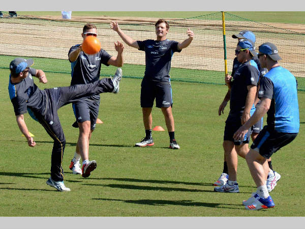 A bit of football for New Zealand cricketers in Dharamsala on Friday