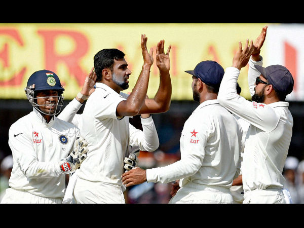 Indian bowler R Ashiwin with teammates celebrates the wicket of New Zealand batsman Ross Taylor during the 4th day of the third test match in Indore on Tuesday.
