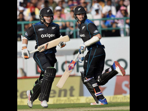New Zealand's Tom Latham and Tim Southee run between the wickets in the first ODI match against India in Dharamsala on Sunday.