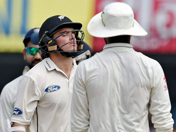 New Zealand batsman Tom Lathom reacts after he was dismissed on the third day of the third test match being played against India in Indore on Monday.