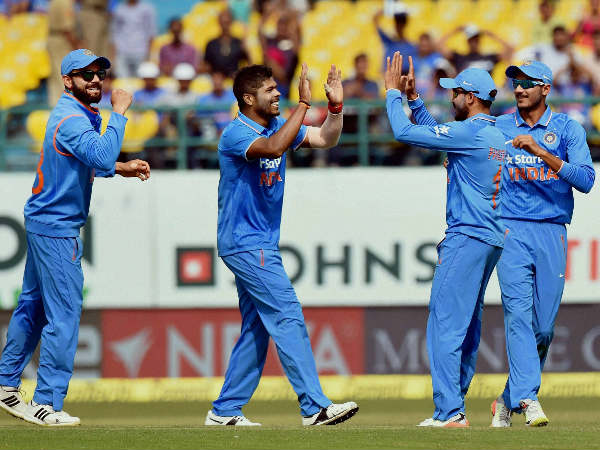 File photo: Indian players celebrate a wicket