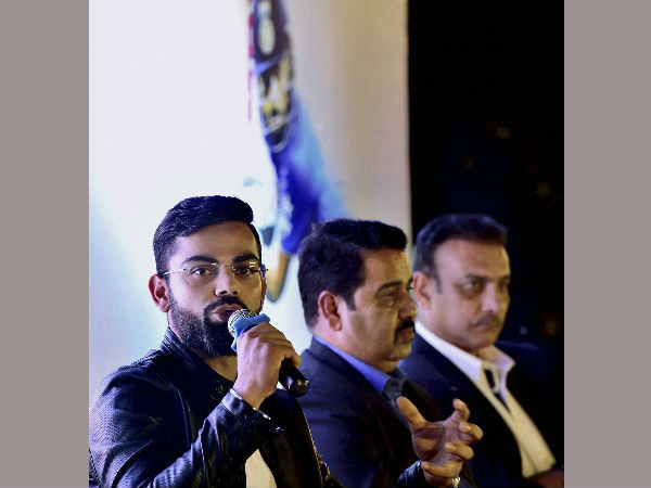 Virat Kohli addressing the audience at the book launch of his biography, 'Driven' in New Delhi on Tuesday.