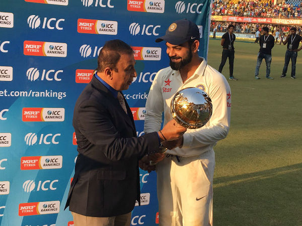 Virat Kohli receives ICC mace as India become No. 1 Test side