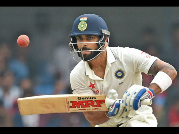 Indian batsman Virat Kohli in action on the first day of the third Test match against New Zealand in Indore on Saturday.