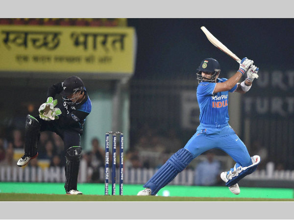 Virat Kohli plays a shot during the 4th ODI in Ranchi