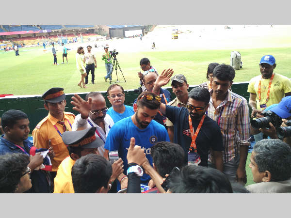 File photo: Virat Kohli obliges his fans in Bengaluru