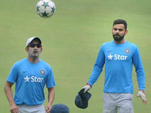 Gambhir and Kohli (right) during India's Test series against New Zealand in Indore recently