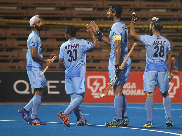 Indian players celebrate a goal against China. Photo from Hockey India (HI) Facebook page