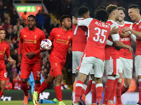 Liverpool players (left) and Arsenal players celebrate (Image courtesy: Liverpool and Arsenal Twitter handle)