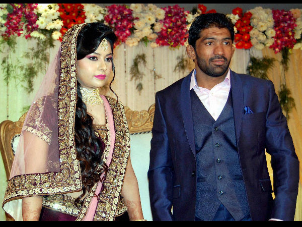 Renowned Indian wrestler Yogeshwar Dutt and Sheetal during their engagement ceremony in Sonipat on Sunday.