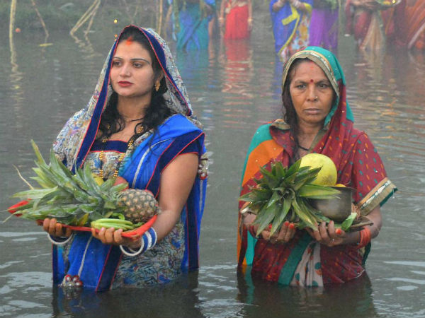 Women worship the Sun God on Chhath