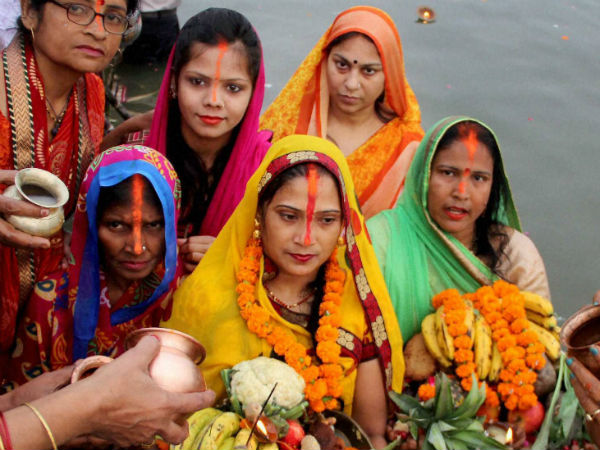 Chhath devotees in river Yamuna