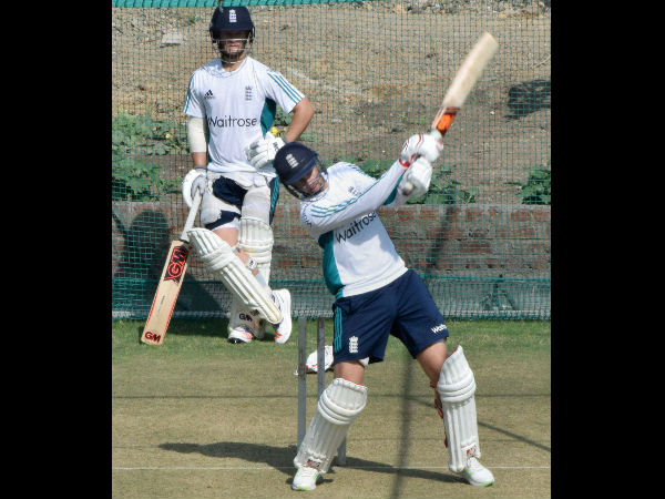 English side sweats it out in the nets