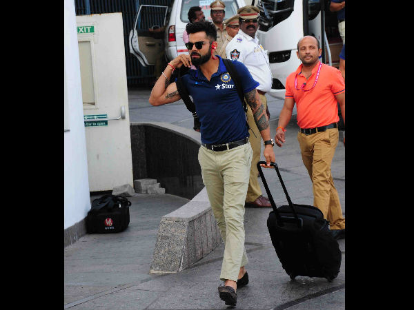 India skipper Virat Kohli arrives