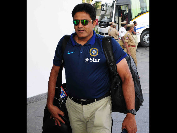 India's head coach Anil Kumble arrives