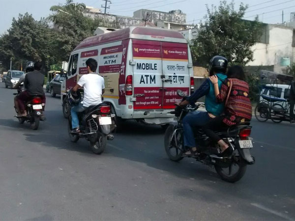 Mobile ATM van seen in Noida