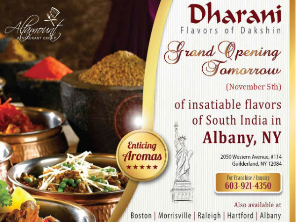 Dharani to open in Albany, NY
