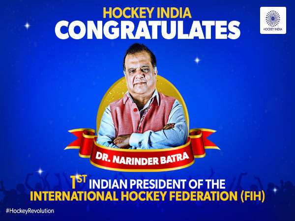 Narinder Batra becomes FIH president (Image courtesy: Hockey India Twitter handle)